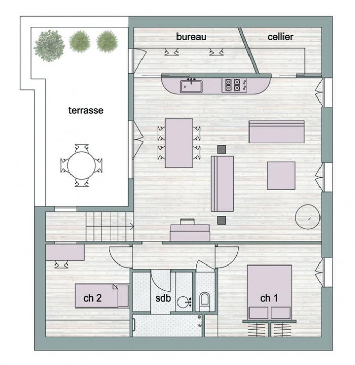 Appartement sous les toits à Paris : plan final internet