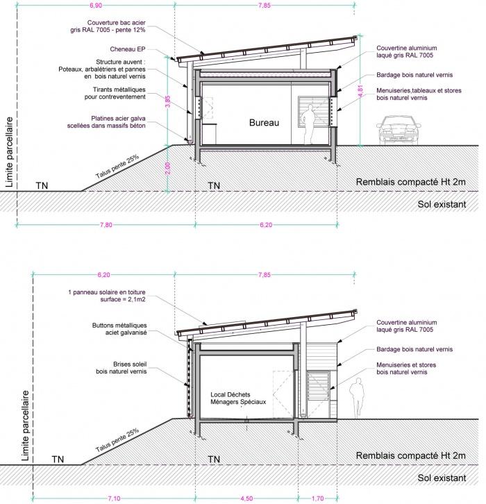 Construction du bâtiment d'exploitation de la déchetterie de Mercurol (26) : Coupes