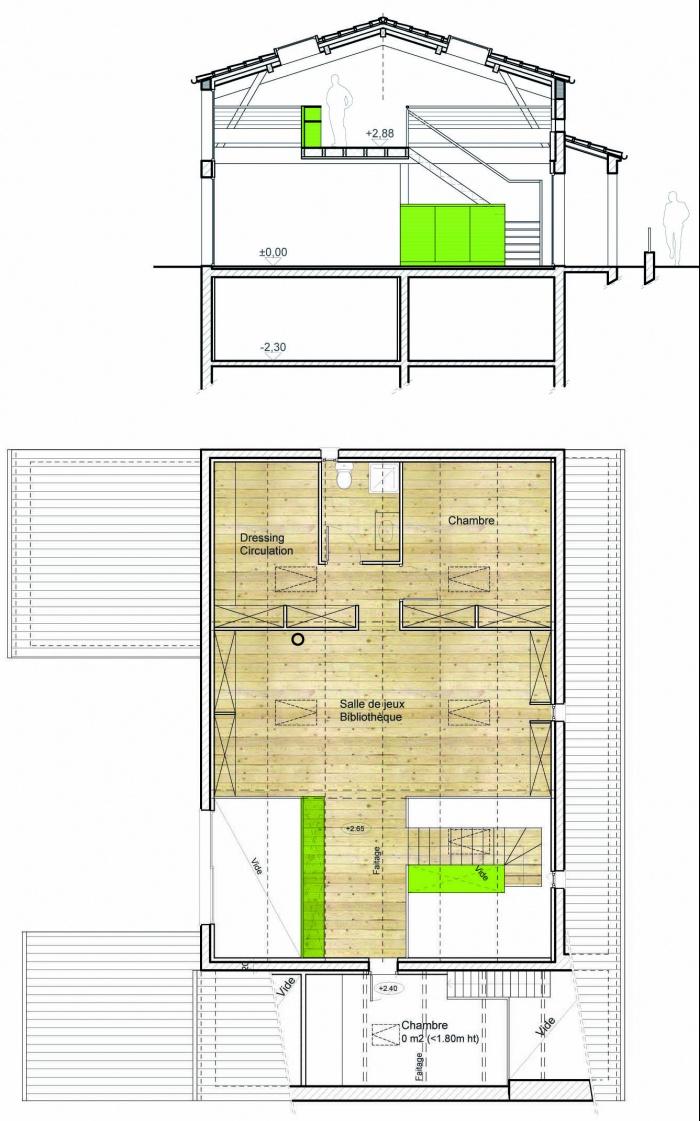 Surélévation d'une maison traditionnelle en copropriété : Navailles EPrel plan et coupe