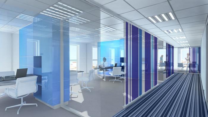 CRCI- Chambre Régionale de Commerce et d'Industrie  Rhône-Alpes-Aménagement du nouveau siège à la Confluence. : perspactive sur plateau bureaux avec code couleur par étage
