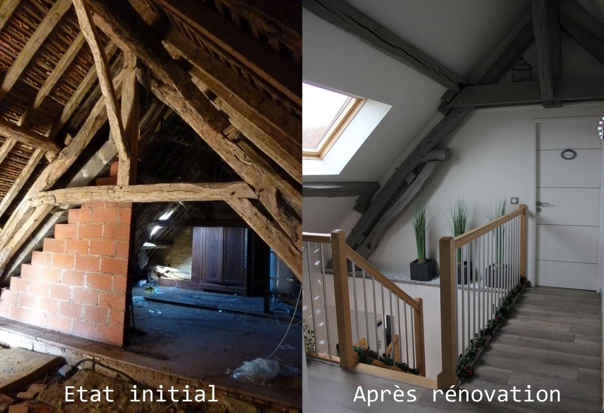 Rénovation d'une maison : Intérieur avant/après travaux