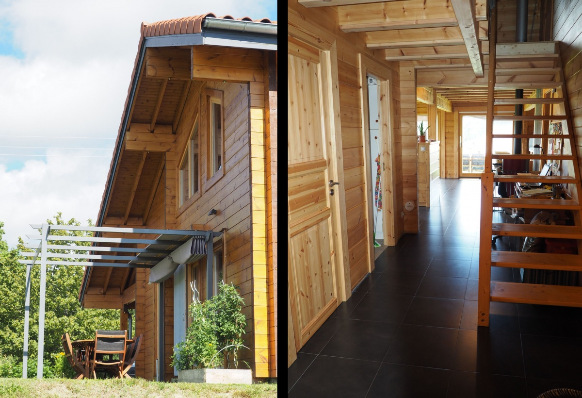 Maison en madriers bois : Façade & Hall d'entrée